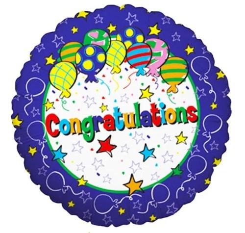 Μπαλόνι αποφοίτησης Congratulations αστέρια 45 εκ