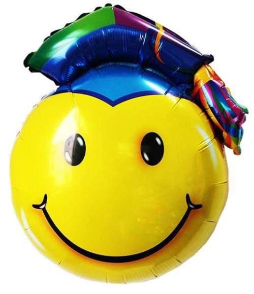 Μπαλόνι για αποφοίτηση φατσούλα smiley με καπέλο