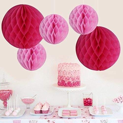 Ροζ χάρτινη διακοσμητική μπάλα