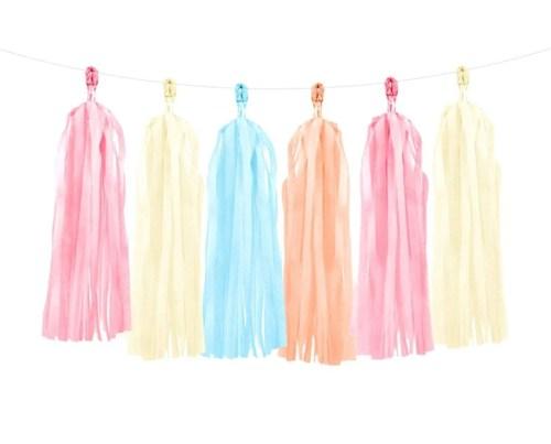 Μιξ χρωμάτων γιρλάντα με φούντες (12 τεμ)