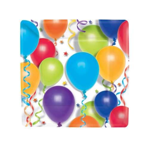 Πιάτα πάρτυ μικρά τετράγωνα Balloons (8 τεμ)