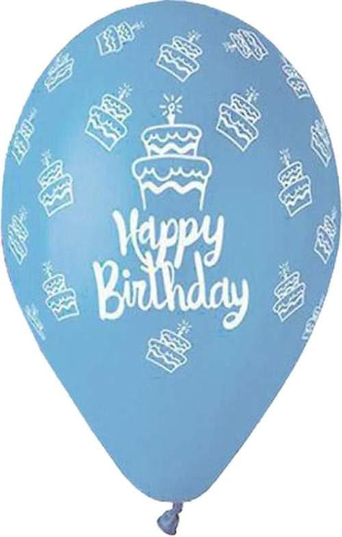 Μπαλόνι τυπωμένο για γενέθλια Baby Blue 'Happy Birthday' cake
