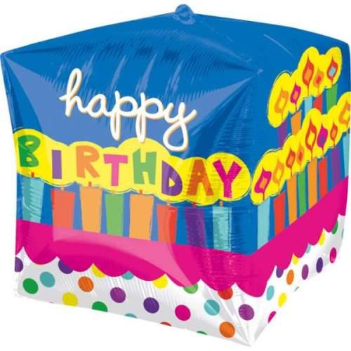 Μπαλόνι 3D κύβος Happy Birthday Τούρτα 38 εκ