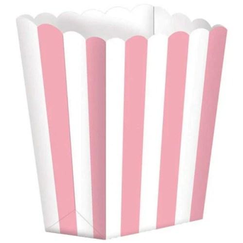 Χάρτινα Ροζ τσαντάκια με ρίγες (5 τεμ)