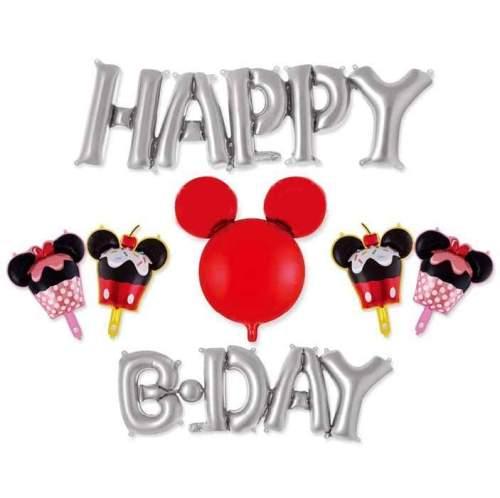 Σετ μπαλονιών Happy B-day ασημί Mickey Mouse (7 τεμ)