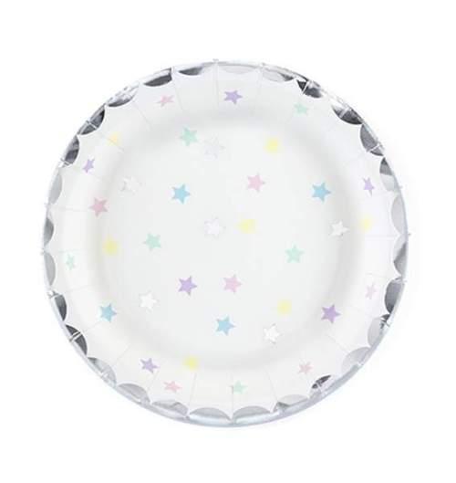 Πιάτα πάρτυ μικρά με πολύχρωμα αστεράκια (6 τεμ)