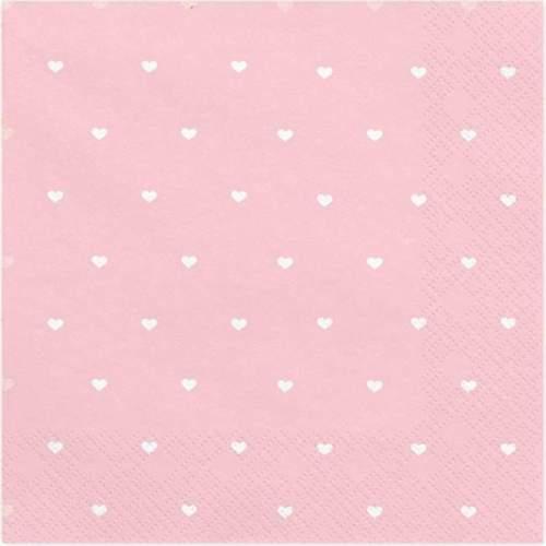Ροζ με καρδούλεςχαρτοπετσέτες (20 τεμ)