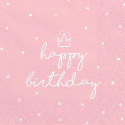 Χαρτοπετσέτες Ροζ Happy Birthday (20 τεμ)