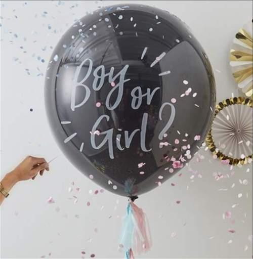 """31"""" Τεράστιο μπαλόνι τυπωμένο 'Boy or Girl' με κονφετί"""