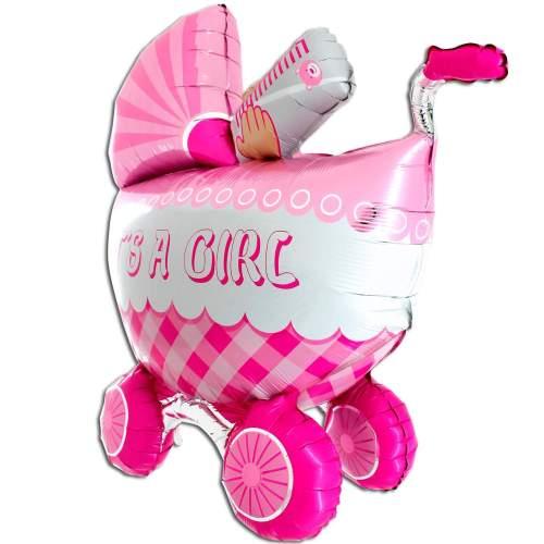 Μπαλόνι γέννησης καροτσάκι 3D Girl 107 εκ