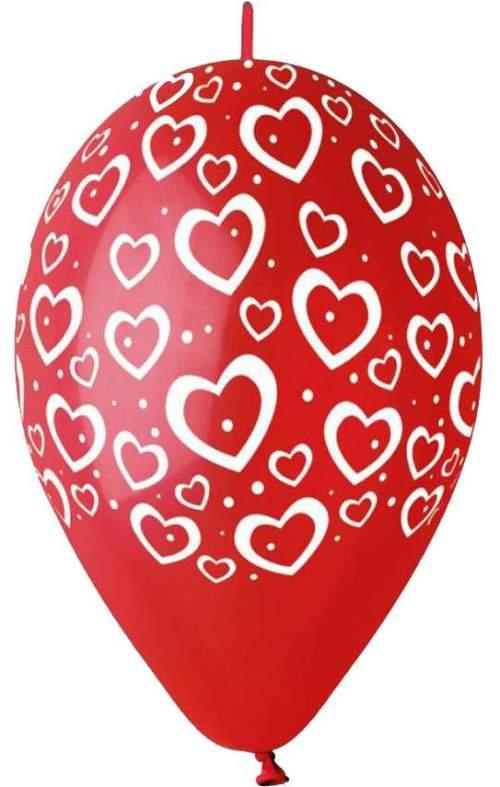 """12"""" Μπαλόνι τυπωμένο Καρδιές & τελείες με ουρίτσα"""