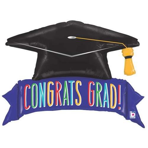Μπαλόνι για αποφοίτηση καπέλο 'Congrats Grad'