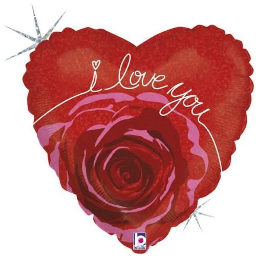 Μπαλόνι αγάπης Καρδιά 'I Love You' άνθος τριαντάφυλλου