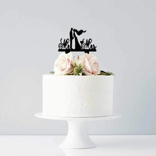 Διακοσμητικό topper Mr & Mrs ζευγάρι μαύρο