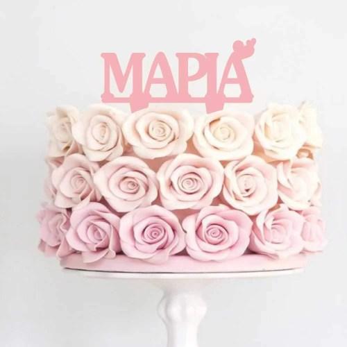Διακοσμητικό topper με Όνομα ροζ