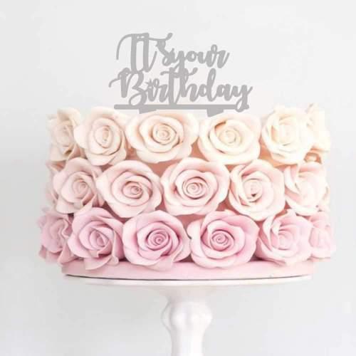 Διακοσμητικό topper It's your Birthday ασημί