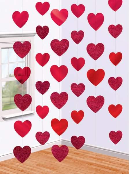Διακοσμητική κουρτίνα με Καρδούλες ( 6 τεμ)