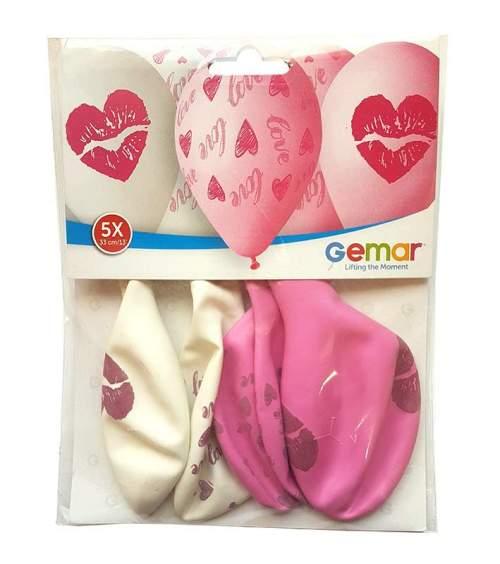 13'' Love & καρδούλα τυπωμένα λάτεξ μπαλόνια (5 τεμ)
