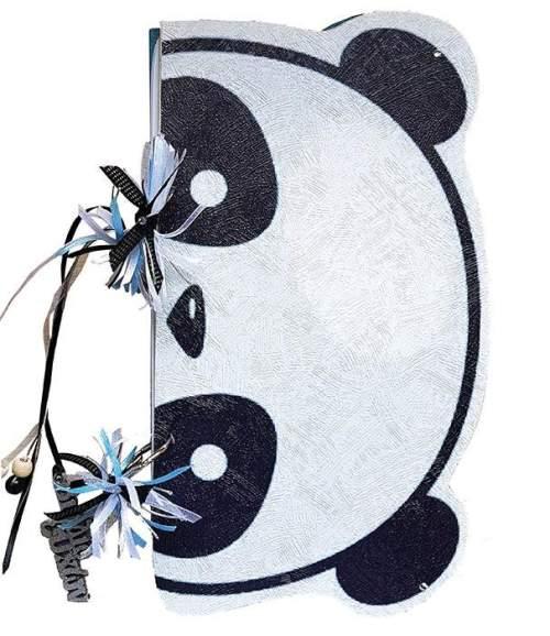 Χειροποίητο Βιβλίο Ευχών βάπτισης Panda με Ξύλινο εξώφυλλο