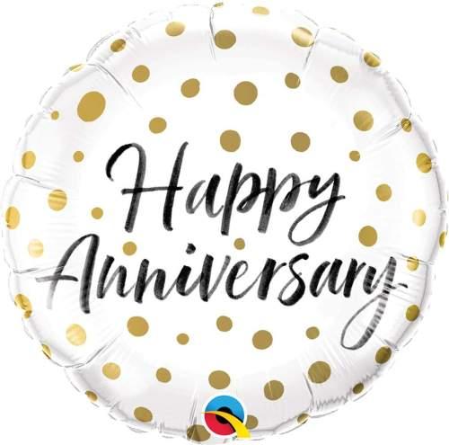 Μπαλόνι Happy Anniversary χρυσά πουά 45 εκ