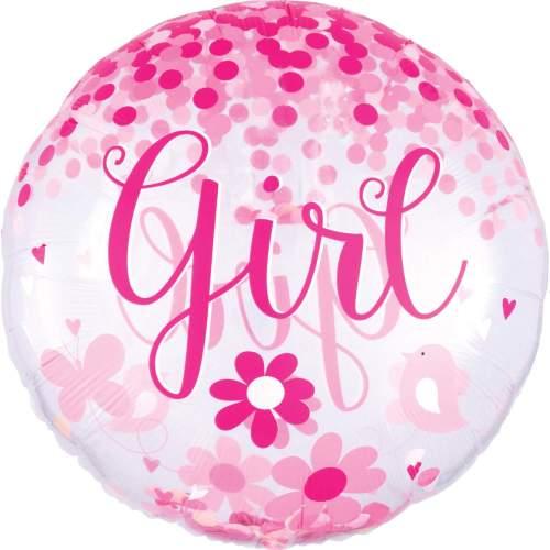 Μπαλόνι γέννησης Baby Girl Confetti ORBZ 71 εκ