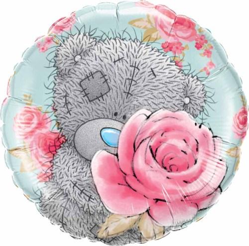 Μπαλόνι αρκουδάκι & λουλούδια Happy Birthday 46 εκ