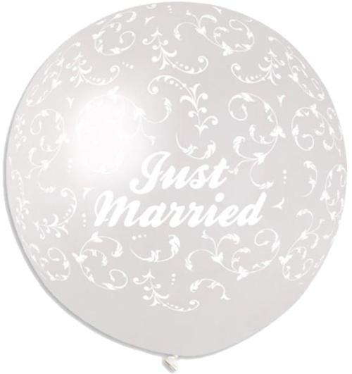 """40"""" μπαλόνι τυπωμένο Just Married με κέντημα"""