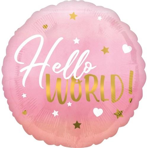 Μπαλόνι γέννησης Hello World ροζ 45 εκ