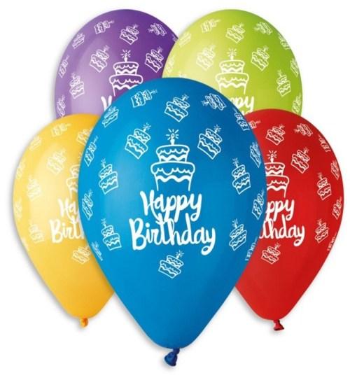 """12"""" Μπαλόνι Happy Birthday τούρτες 5 χρώματα"""