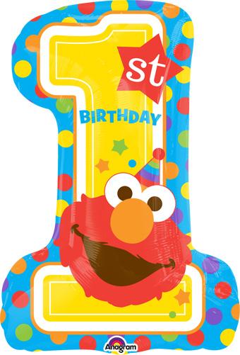 28 Inch Happy Birthday 1st Birthday Elmo Balloon