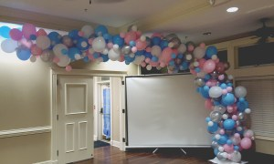 Organic balloon arch for sororit Rush Week, by Balloonopolis, Columbia, SC