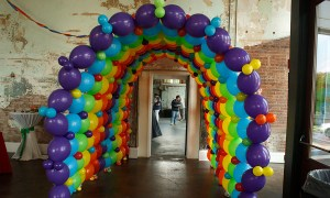 Rainbow balloon tunnel, by Balloonopolis, Columbia, Sc