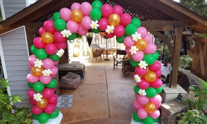 Flower pattern balloon arch, by Balloonopolis, Columbia, SC