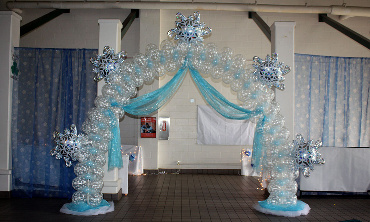 Frozen Themed Balloon Arch for Prom, by Balloonopolis, Columbia, SC