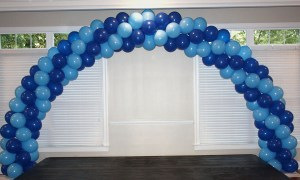 Double door spiral balloon arch, by Balloonopolis, Columbia, SC