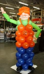 Custom balloon sculpture - Home Depot Mascot - Balloonopolis, Columbia, SC