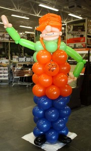 Custom balloon sculpture - Home Depot Mascot - Balloonopolis, Columbia, SC