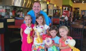 Kids with balloon animals at Moe's Restaurant by Balloonopolis, Columbia, SC