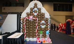 Gingerbread House from Candyland Game, Balloon Wall, by Balloonopolis, Columbia, SC