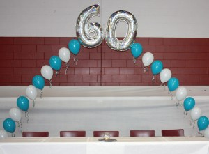 Helium Balloon arch with 60, by Balloonopolis, Columbia, SC
