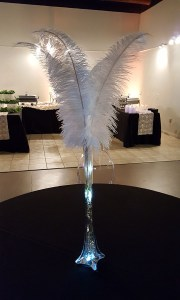 Ostrich feather centerpiece, by Balloonopolis, Columbia, SC