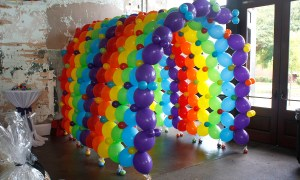 colorful balloon tunnel, by Balloonoplis, Columbia, SC