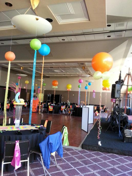 Pastel balloon lantern floor to ceiling