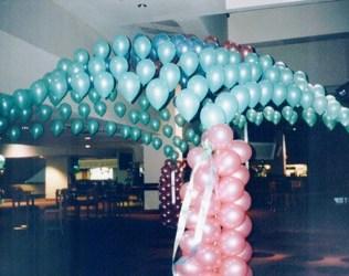 Pastel balloon canopy