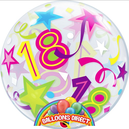 """18th birthday 22"""" shapes bubble balloon from balloons direct"""