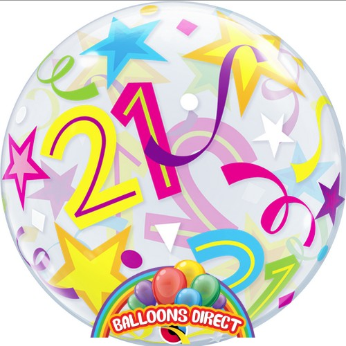 """21st birthday 22"""" shapes bubble balloon from balloons direct"""