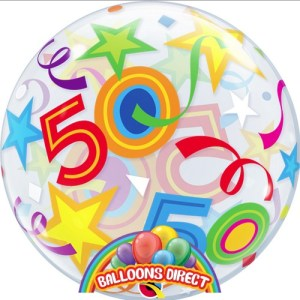 """50th birthday 22"""" shapes bubble balloon from balloons direct"""