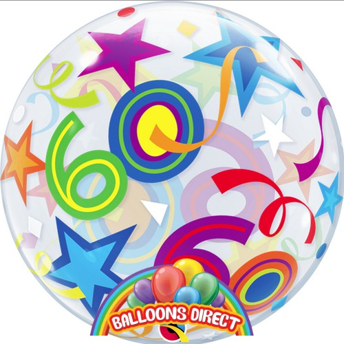 """60th birthday 22"""" shapes bubble balloon from balloons direct"""