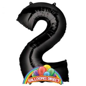 """black number 2 large 34"""" foil balloon"""