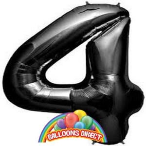 """black number 4 large 34"""" foil balloon"""